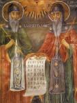 Свети Кирил и Методий. Стенопис от 1848 година от Захарий Зограф (1810 - 1853) в Троянски манастир Успение Богородично