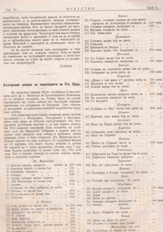 Списък на творбите, подарък за руския император