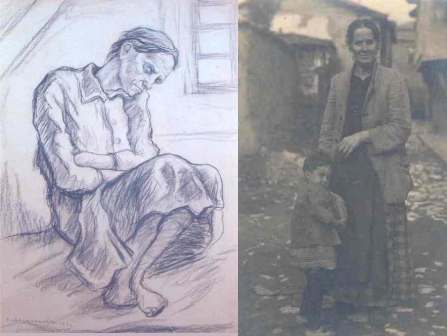 Евтимия - майката на художника и нейна рисунка от Каварналиев
